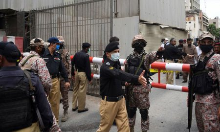 Police & Rangers outside Pakistan Stock Exchange