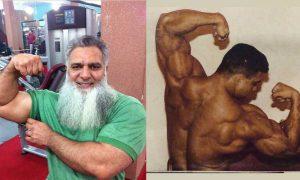 60-year old Pakistani bodybuilder