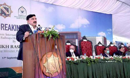 Sheikh Rashid speaking